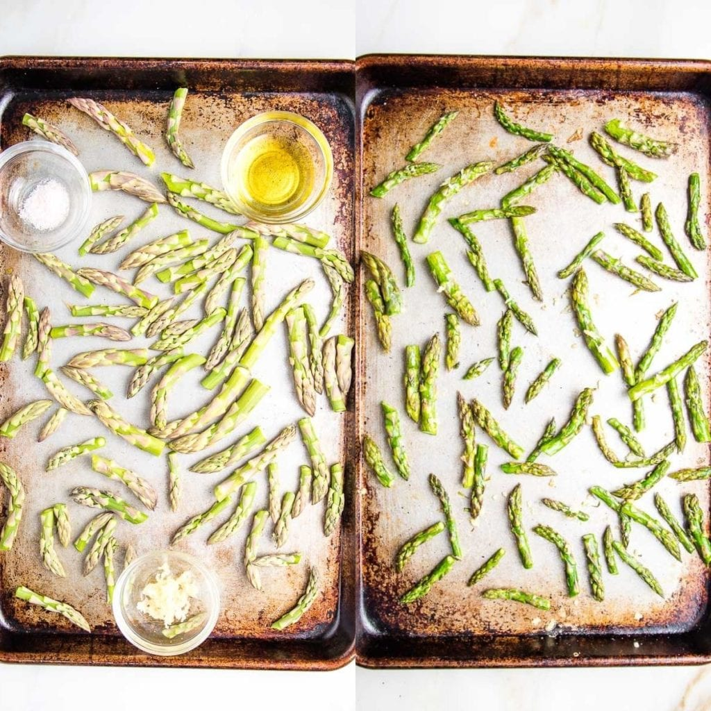 two photos. On the left a baking tray with 1-inch pieces of asparagus, a small glass dish with a Tablespoon of olive oil, another dish with 1/2 teaspoon each salt and white pepper and a third small glass dish with pressed garlic.  PHoto on the right is the same tray after the asparagus have been roasted and turned a brighter green.