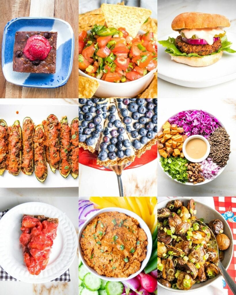 9 grid of photos for 4th of July.  Brownies, salsa, veggie burgers, zucchini oats, blueberry tart, lentil salad, strawberry pie, romesco dip with veggies and potato salad.